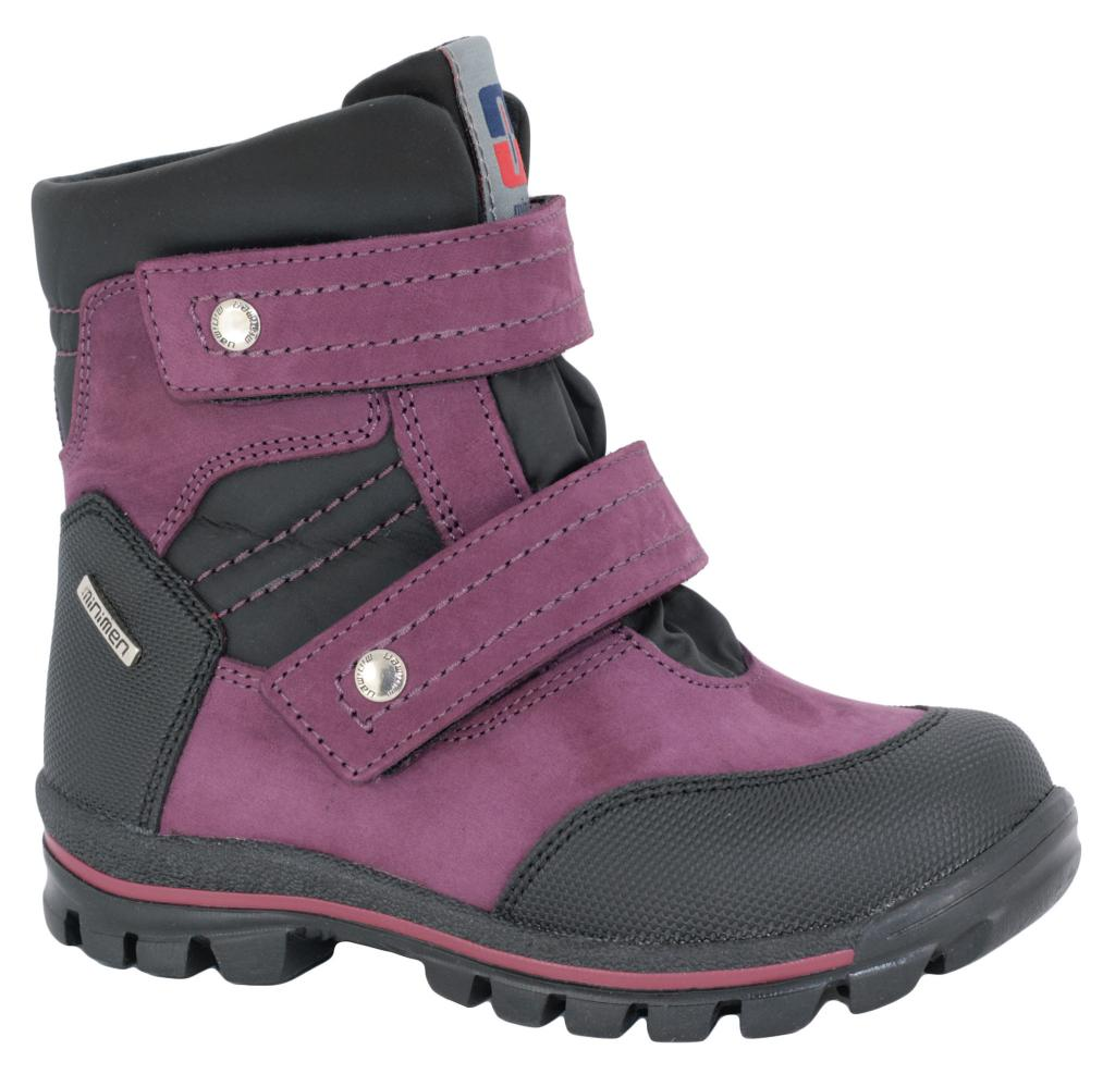 bca8c125c Ботинки зимние Minimen 493 фиолетово-черные, кожа+текстиль