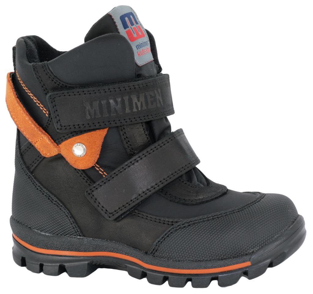 af90e2a68 Ботинки зимние Minimen 494 чёрно-оранжевые, кожа+текстиль